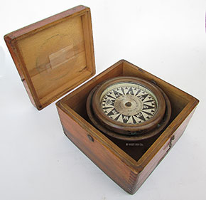 Maritime Compasses Antiques Steady Maritime Antique Brass Nautical Compass Gilbert Pocket Sundial With Time Reader